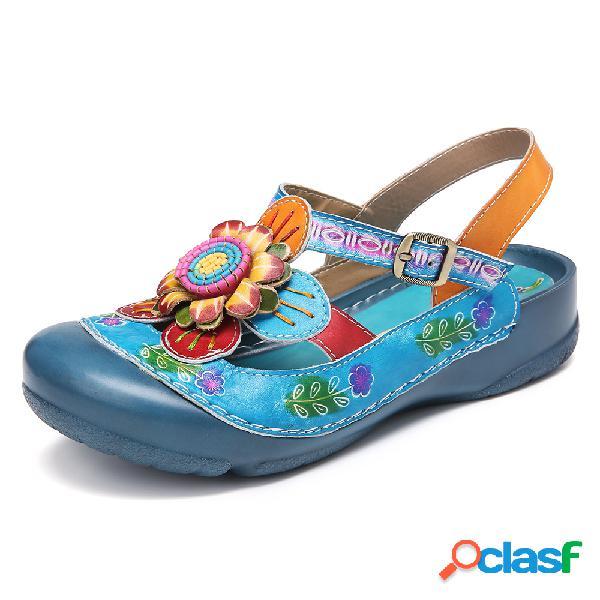 Socofy couro artesanal fivela floral cinta slingback sandálias planas mulas