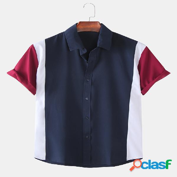 Camisas de manga curta casaul respirável cor contraste masculino patchwork