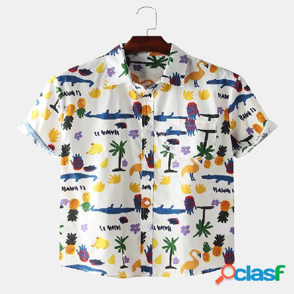 Masculino 100% algodão cartoon animal e frutas flamingo abacaxi impresso manga curta camisa