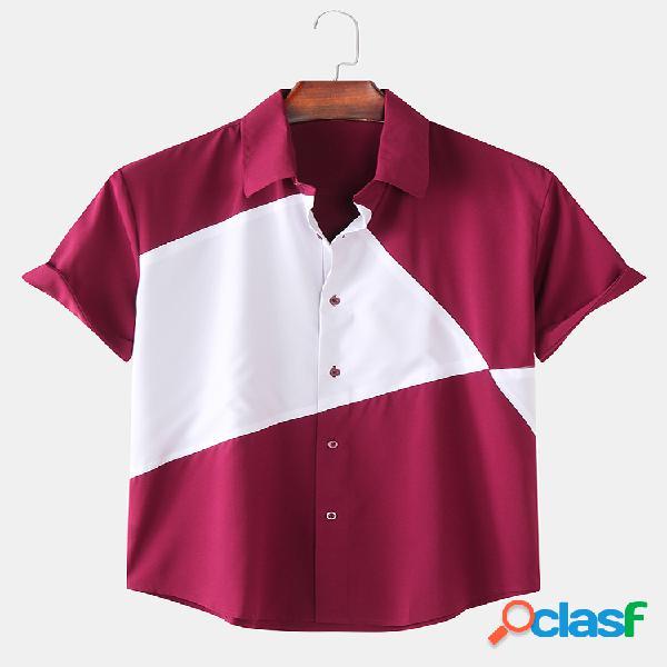 Mens contrast color patchwork respirável manga curta camisas casuais