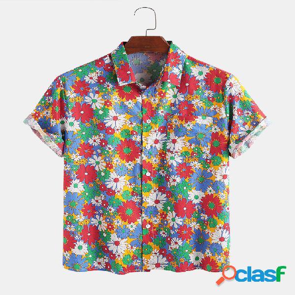 100% algodão colorful margarida impresso lapela feriado casual camisa para homens mulheres