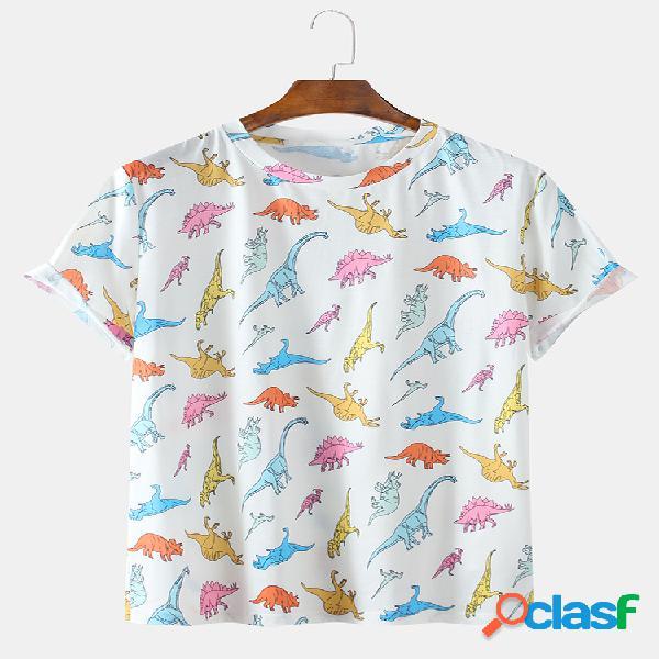 Camiseta masculina divertida com estampa de dinossauro casual casa em volta do pescoço camiseta de manga curta