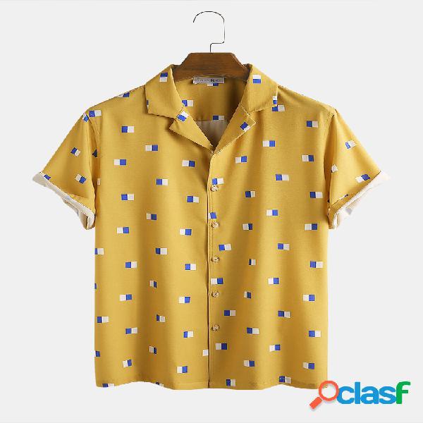 Mangas curtas casuais de férias lapela masculina colorida divertida impressão em bloco camisa