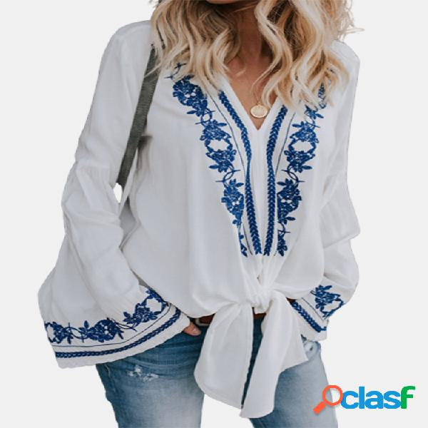 Blusa bohemian estampa manga larga nó frente plus tamanho