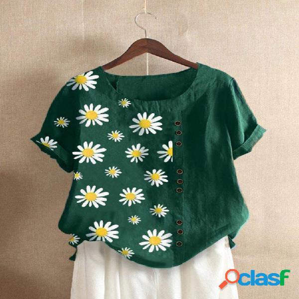 Camiseta feminina com decote em o com estampa floral margarida