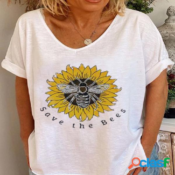 Flor bee camiseta de manga curta solta estampada para mulheres