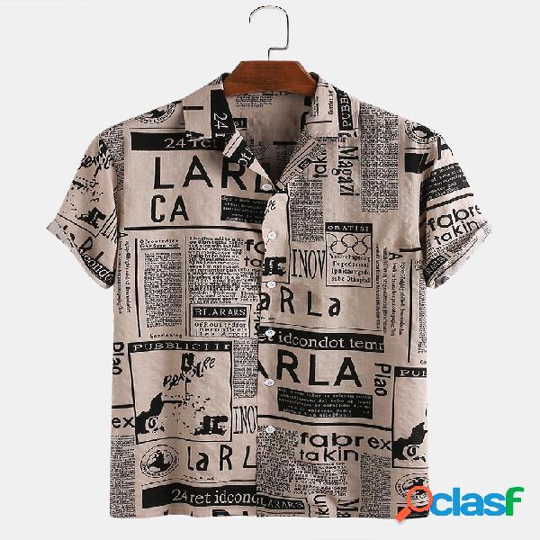 Homem 65% algodão divertido jornal impresso casual feriado manga curta camisa