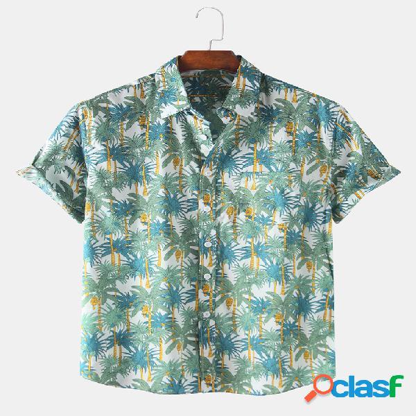Mens 100% algodão tropical coco tree macacão impresso manga curta de férias camisa
