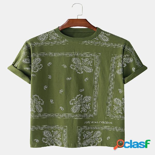 100% algodão étnico totem quadrado impresso casual casa em torno do pescoço t-shirt