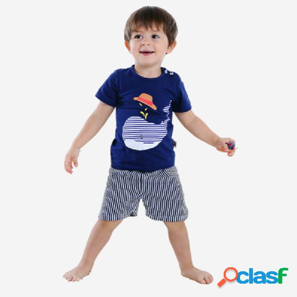 Conjunto de roupas casuais de pijama de mangas curtas com golfinho do menino para 1-5a