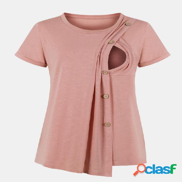 Mangas curtas com botão frontal para maternidade, blusas de enfermagem casuais