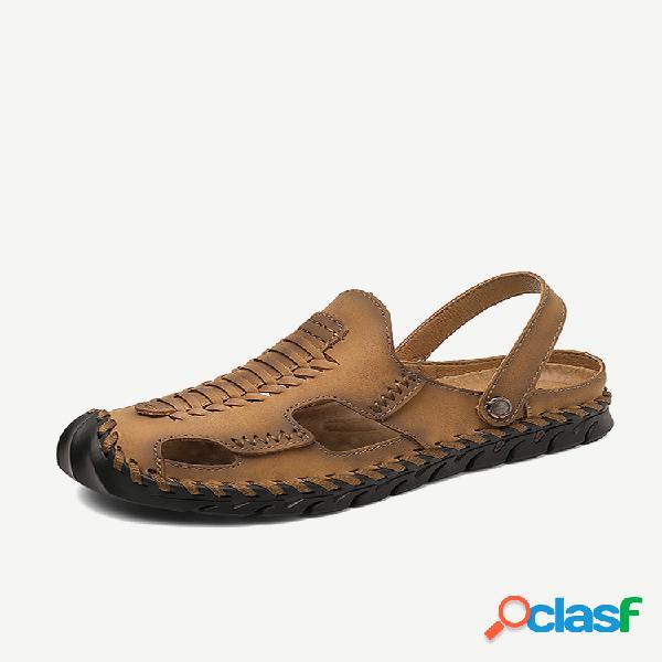 Sandálias masculinas de couro tecido ao ar livre com dedo do pé fechado praia