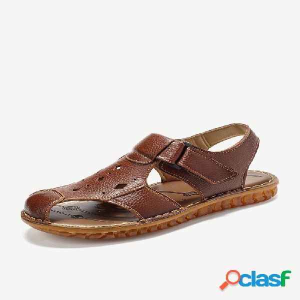 Sandálias masculinas de dedo do pé fechado praia gancho sandálias elegantes de couro com orifício de laço
