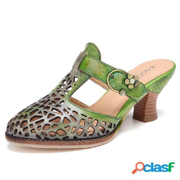 Socofy couro angustiado fivela ajustável recorte alças de salto robusto mulas sandálias de salto médio