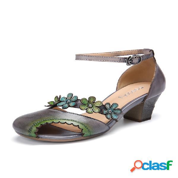 Socofy couro com recorte floral fivela tornozelo com ponta peep toe block heel d'orsay