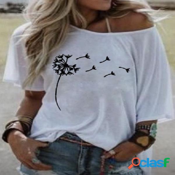 Camiseta de manga curta com estampa floral para mulheres