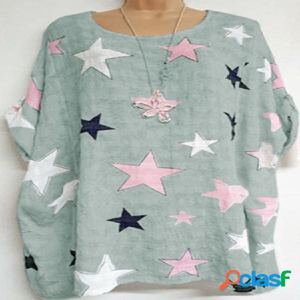 Camiseta feminina estampada em formato de estrela com decote em o de manga curta