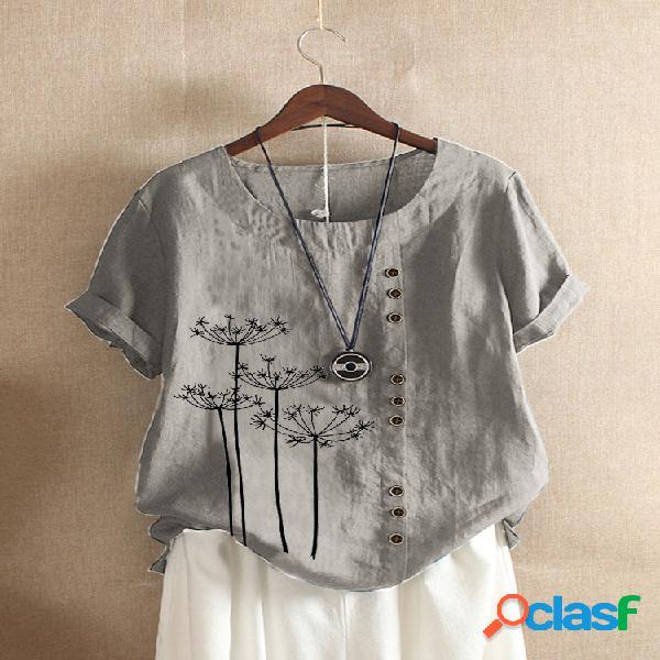 Camiseta floral estampada de manga curta com decote em o