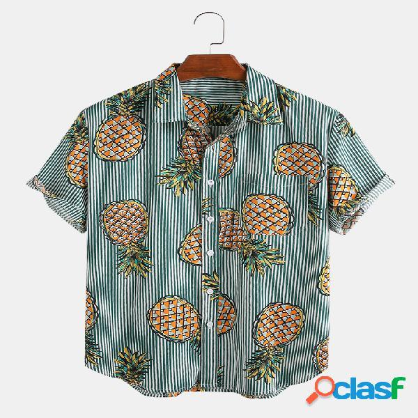 Mens 100% algodão abacaxi vertical listrado impresso respirável camisas de manga curta