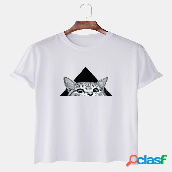 Mens gato engraçado dos desenhos animados impresso manga curta em torno do pescoço t-shirt