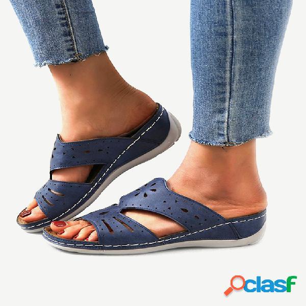 Sandálias femininas de tamanho grande soft sandálias peep toe oco confortáveis