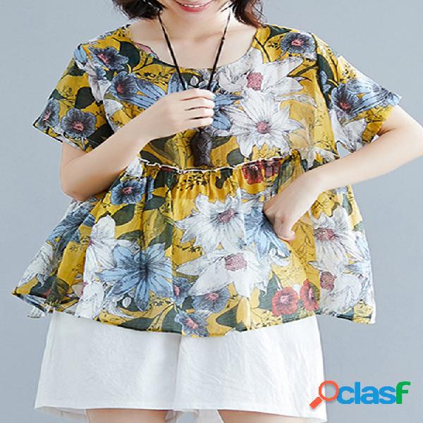 Túnica de estampa floral feminina t-shirt de algodão de manga curta solta