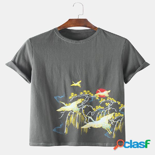 Camiseta masculina de manga curta estampada guindaste estilo chinês em volta do pescoço