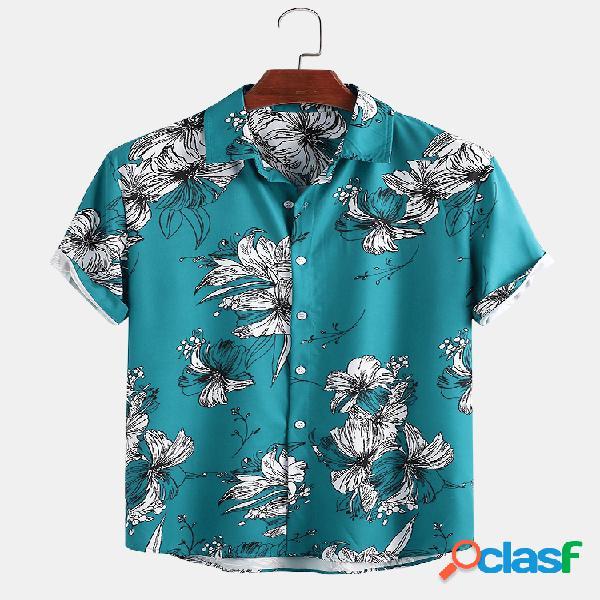 Estampado floral vintage masculino casual de férias camisa