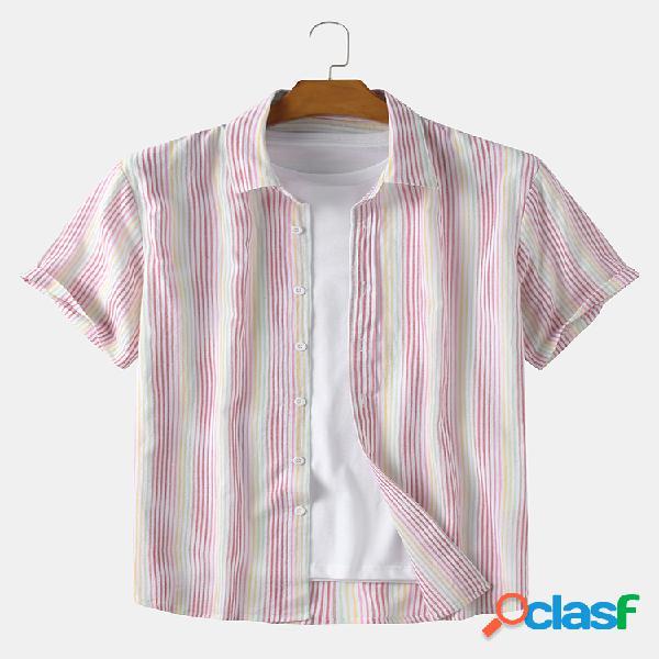 Masculino 100% algodão colorido listrado impresso feriado casual camisa