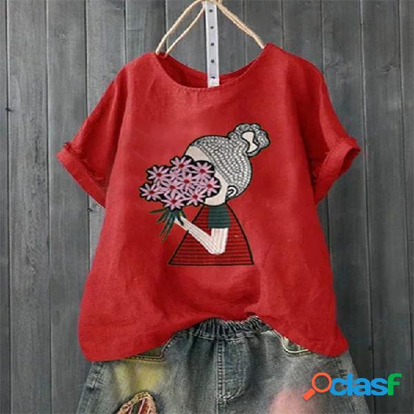 T-shirt curta com decote em o com estampa floral de desenhos animados daisy