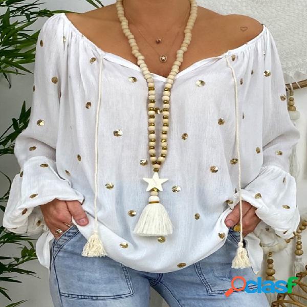 Blusa casual para mulheres com estampa de bolinhas de manga comprida solta