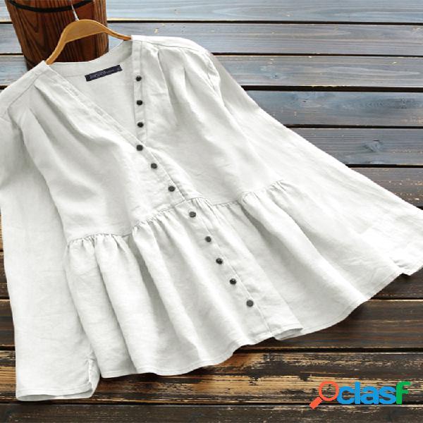 Blusa de botão irregular manga comprida plus tamanho vintage