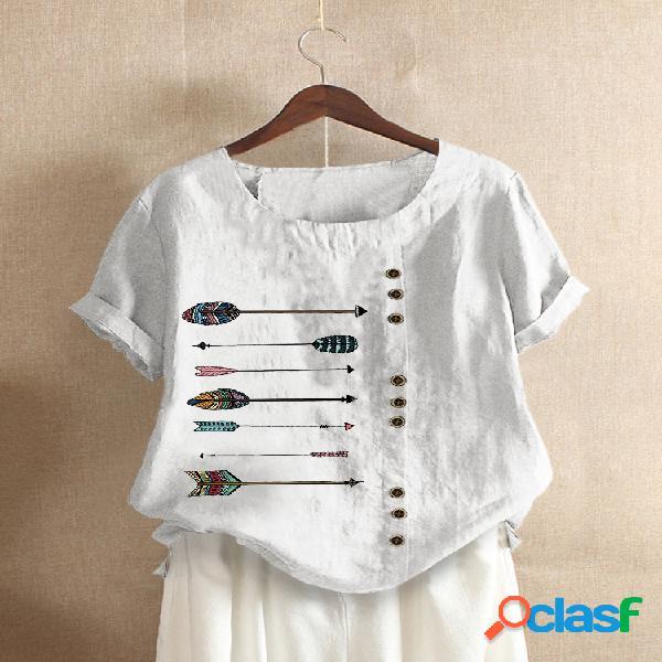 Camiseta estampada de manga curta com decote em o para mulheres