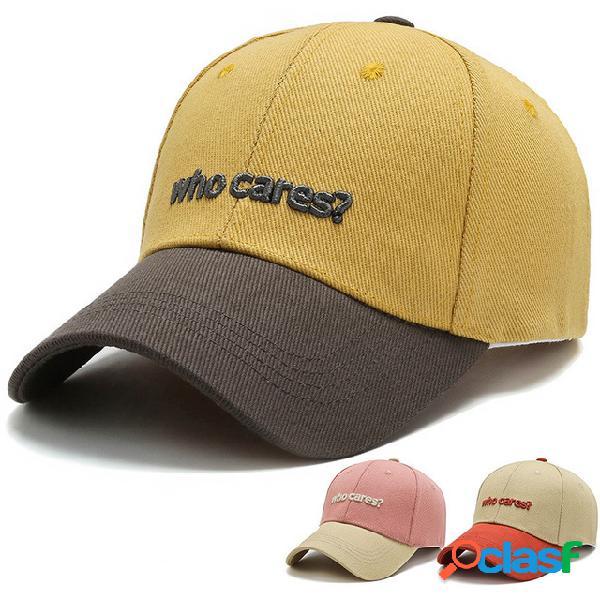 Letras bordadas externas bordadas personalizadas boné de beisebol lavado para sol chapéu