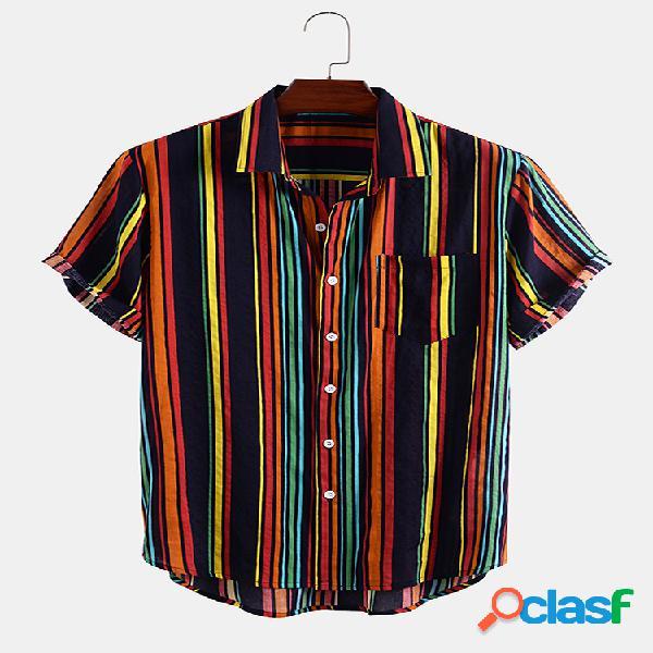 Masculino algodão vintage colorful stripe impresso casual férias camisa