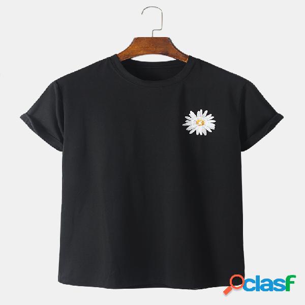 Mens 100% algodão margarida floral impresso casual o-pescoço t-shirt