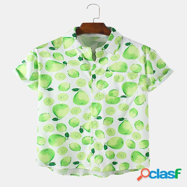 Mens cartoon pear impresso 100% algodão respirável camisa