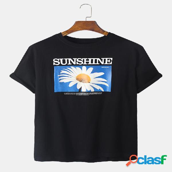 Mens designer daisy graphic 100% algodão casual t-shirt