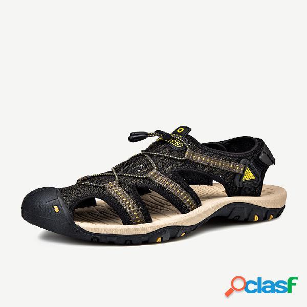 Sandálias masculinas de dedo do pé fechado externo antiderrapante respirável praia
