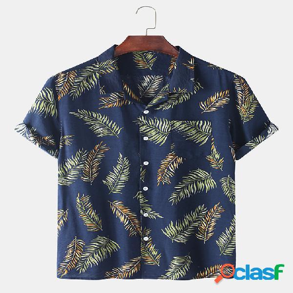 Algodão masculino holiday style palm folha impresso casual camisa