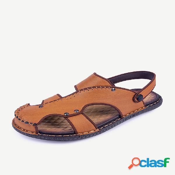 Dedo do pé fechado masculino com costura à mão orifício de couro praia sandálias de água
