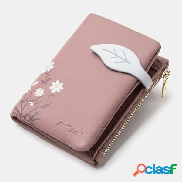 Mulheres folha bifold flor impresso zipper wallet