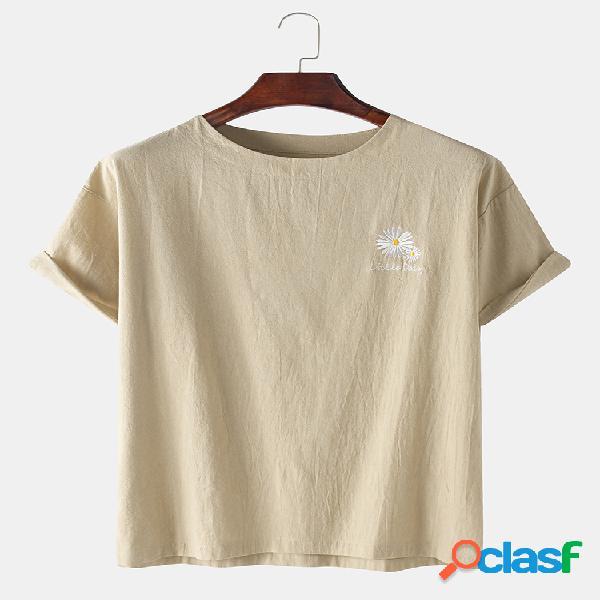 Mens 100% algodão solid daisy floral printed casual t-shirts