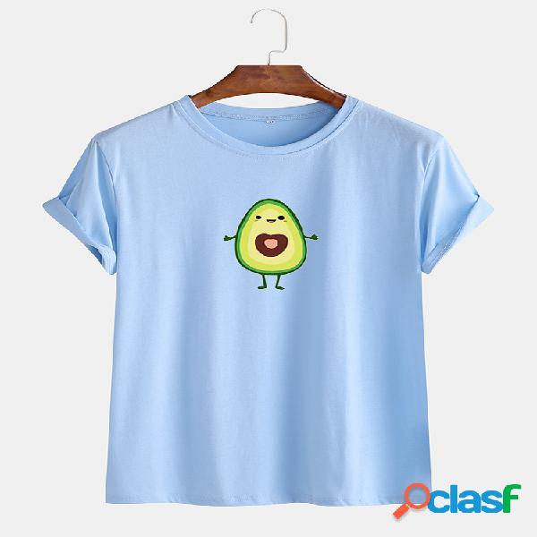 Mens encantador dos desenhos animados abacate impresso algodão respirável camisetas