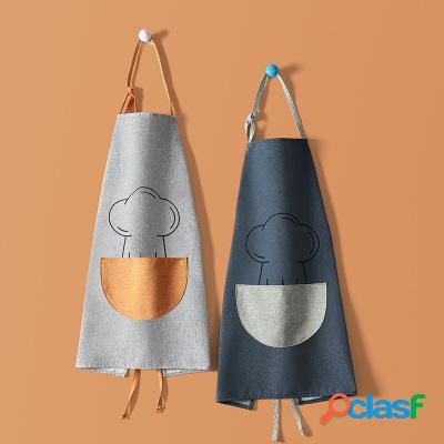 Avental de cozinha multifuncional à prova d 'água sem mangas de linho de algodão cozinhar pano de trabalho para casa ferramenta de cozinha ferramenta de trabalho