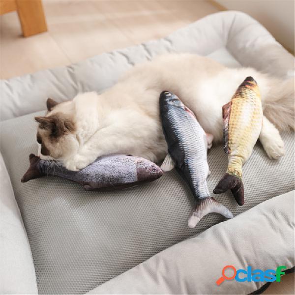 Brinquedos eletrônicos de pelúcia de carregamento usb para gatos, peixes e peixes saltadores para interação com animais de estimação