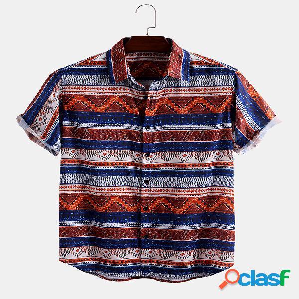 Mens estilo étnico listrado impressão camisas de manga curta