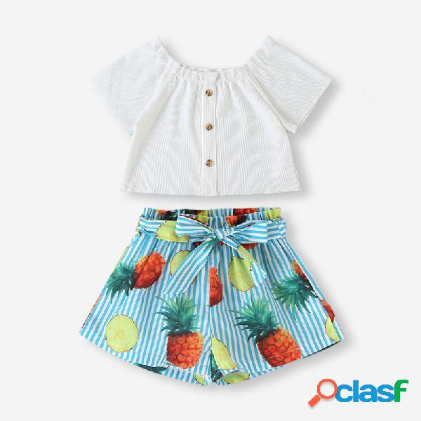 Conjunto de roupas casuais de mangas curtas de impressão listrada de menina para 2-8 anos
