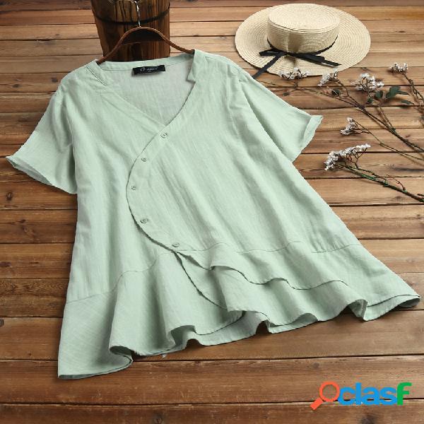 Manga curta com decote em v irregular franzido plus tamanho camisa