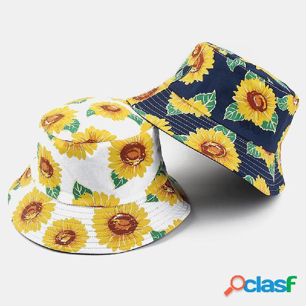 Algodão impresso girassol pescador chapéu lavatório de dupla face chapéu protetor solar masculino buket chapéu